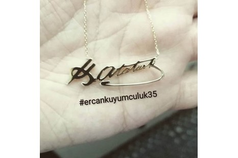 Kemal Atatürk İmza Kolye Gümüş