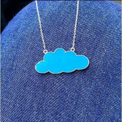 Mavi Mineli Bulut Kolye